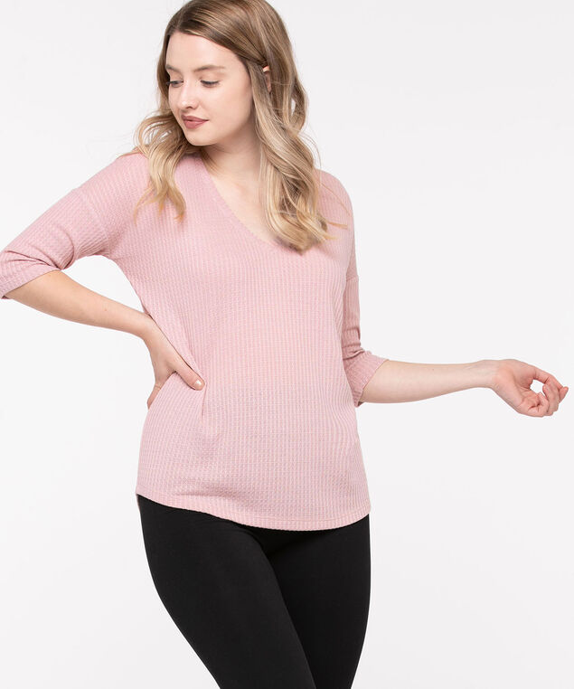 Drop Shoulder Waffle Knit Top, Mauve