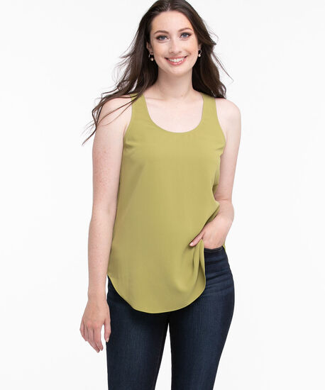 Scoop Neck Sleeveless Blouse, Green Olive, hi-res