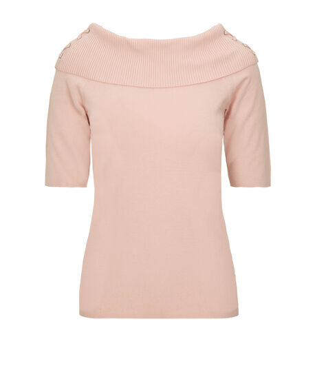 """""""Marilyn"""" Lace Up Pullover Sweater, Pastel Pink, hi-res"""