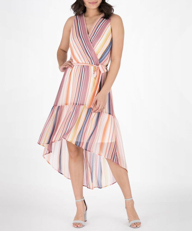 Sleeveless Striped High-Low Dress, Marigold/Navy/Coral, hi-res