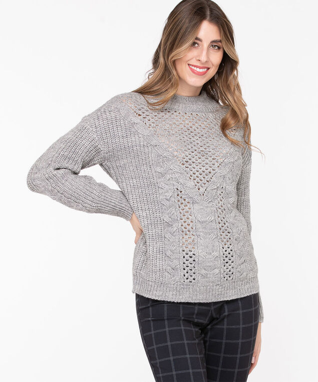 Open Stitch Cable Knit Sweater, Light Grey, hi-res