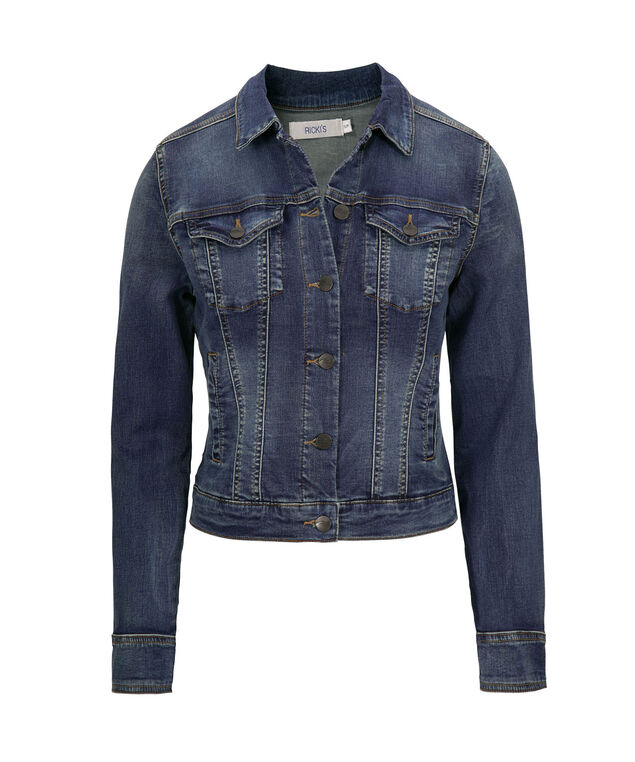 Medium Dark Wash Jean Jacket, Medium Dark Wash, hi-res
