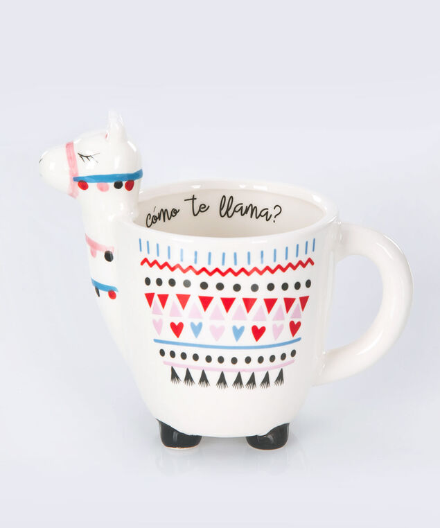 Llama Coffee Mug, Ivory/Red/Blue, hi-res