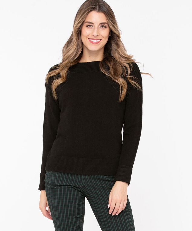 Cuffed Boatneck Pullover Sweater, Black, hi-res