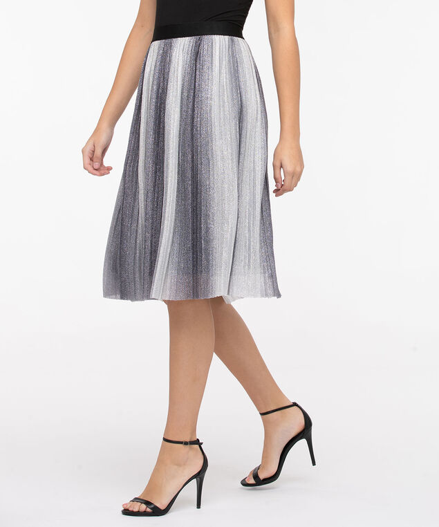 Pleated Silver Ombre Midi Skirt, Silver Sparkle/Black, hi-res