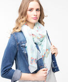 Colourful Butterfly Print Oblong Scarf, Sky Blue/Rose Petal/Tangerine, hi-res