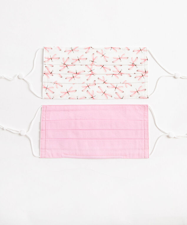 Summer Face Mask 2-Pack, Dragonfly/Pink