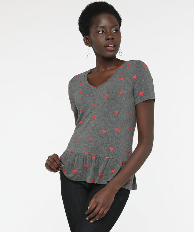 Heart Print Peplum V-Neck Top, Mid Heather Grey/Hibiscus, hi-res