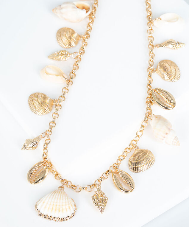 Seashell Stationed Necklace, Pearl/Gold, hi-res