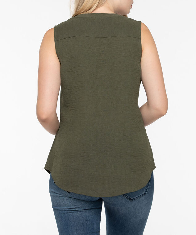 Sleeveless Hidden Button Henley Blouse, Summer Olive, hi-res