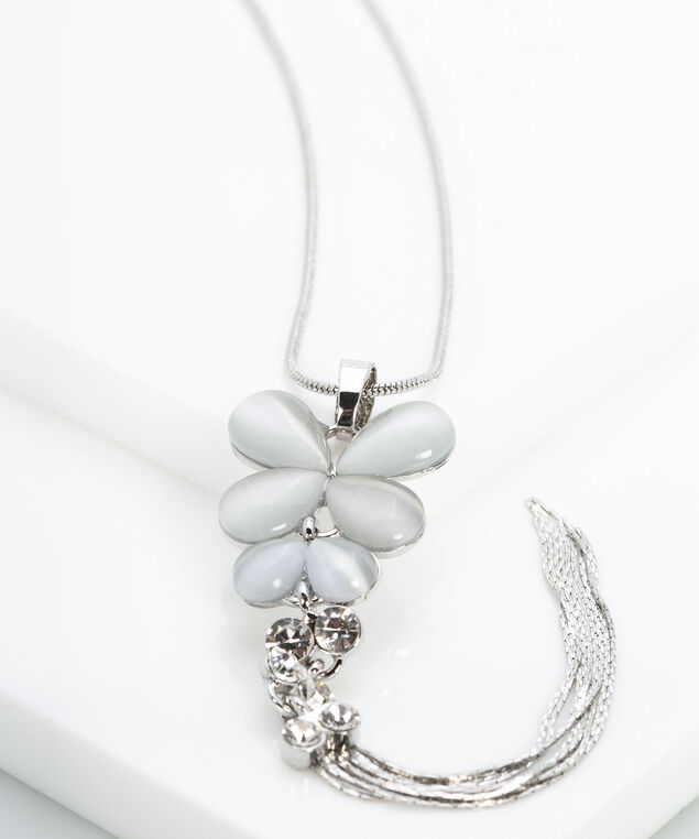 Butterfly & Crystal Tassel Necklace, Grey/Rhodium, hi-res