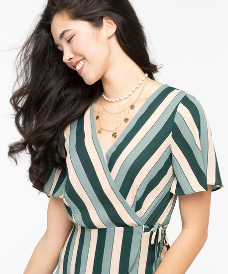 Striped Wrap Over Blouse, Thyme/Basil/Stone, hi-res