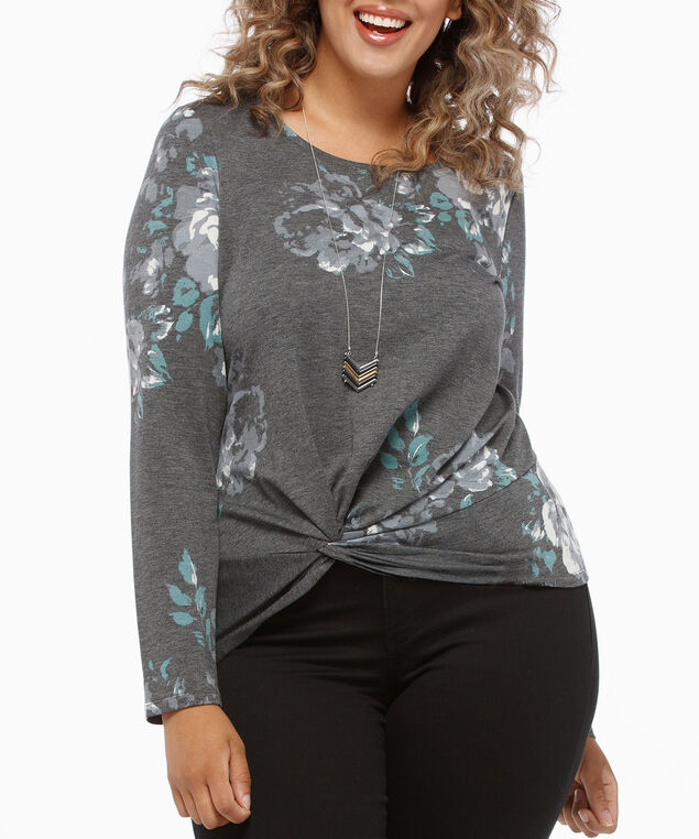 Long Sleeve Twist Knot Front Top, Mid Heather Grey, hi-res