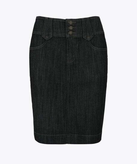 Button Fly Front Denim Pencil Skirt, Rinse Wash, hi-res