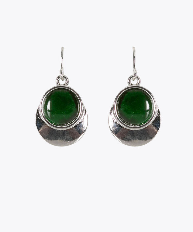 Cateye & Metal Disc Earring, Green/Rhodium, hi-res