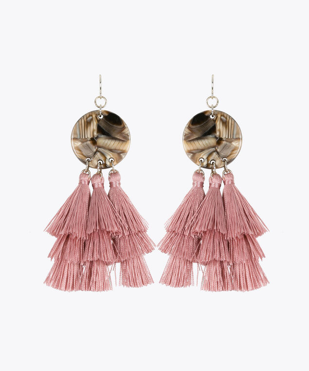 Resin Disc & Tassel Earring, Cameo Pink/Gold, hi-res