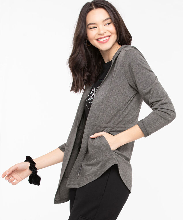 Hooded Drawstring Waist Cardigan, Heather Grey, hi-res