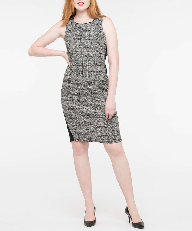 Sleeveless Plaid Colourblock Dress, Pearl/Black, hi-res