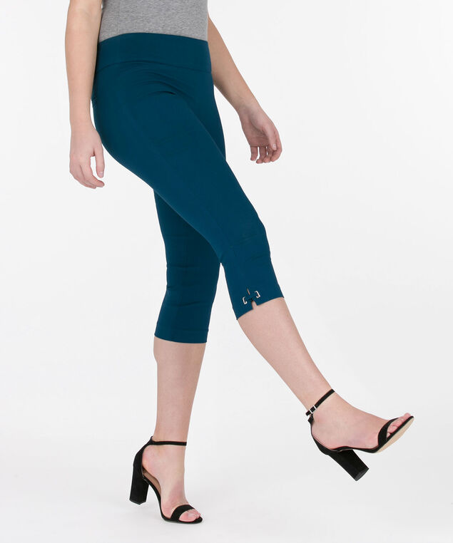SIDE-TAB MICROTWILL CAPRI PANT, Midnight Teal, hi-res