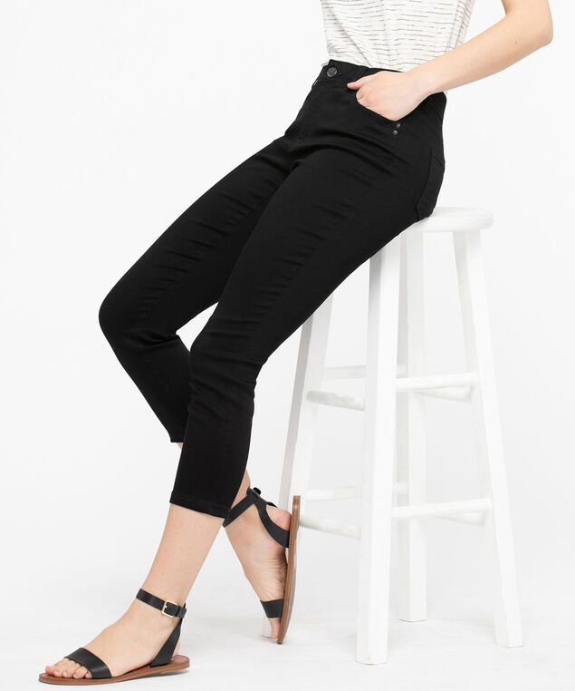 Fly Front Jegging Crop, Black