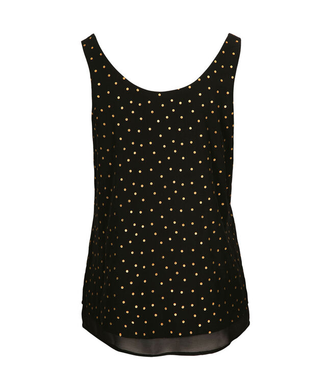 Double Layer Sleeveless Blouse, Black/Gold, hi-res