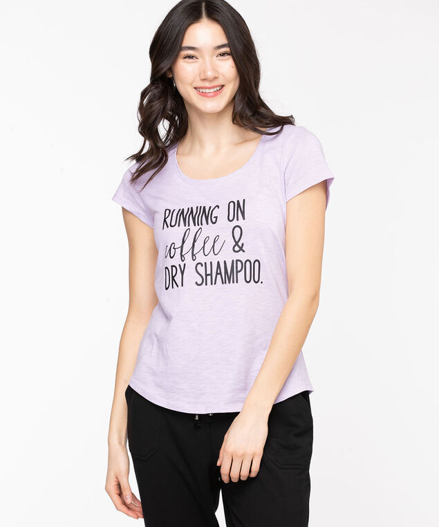 Scoop Neck Shirttail Graphic Tee, Orchid Petal/Shampoo