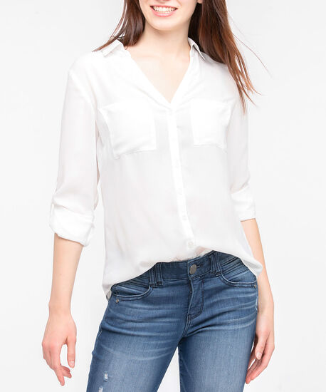 Button Front Collared Blouse, Pearl, hi-res