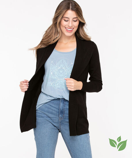 EcoVero™ Open Cardigan, Black, hi-res