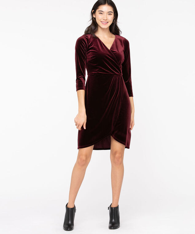 Velvet Wrap Front Dress, Windsor Wine, hi-res