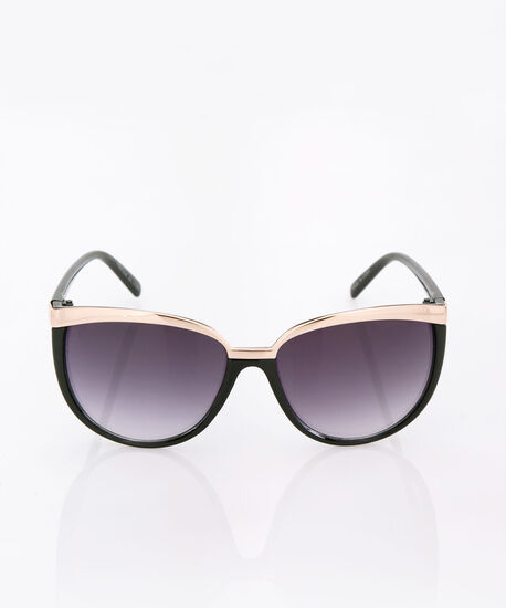 Metal Trim Cateye Sunglasses, Black/Gold, hi-res