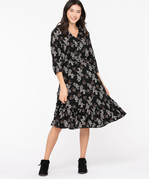 Floral V-Neck Midi Dress, Black/Ivory/Brown, hi-res