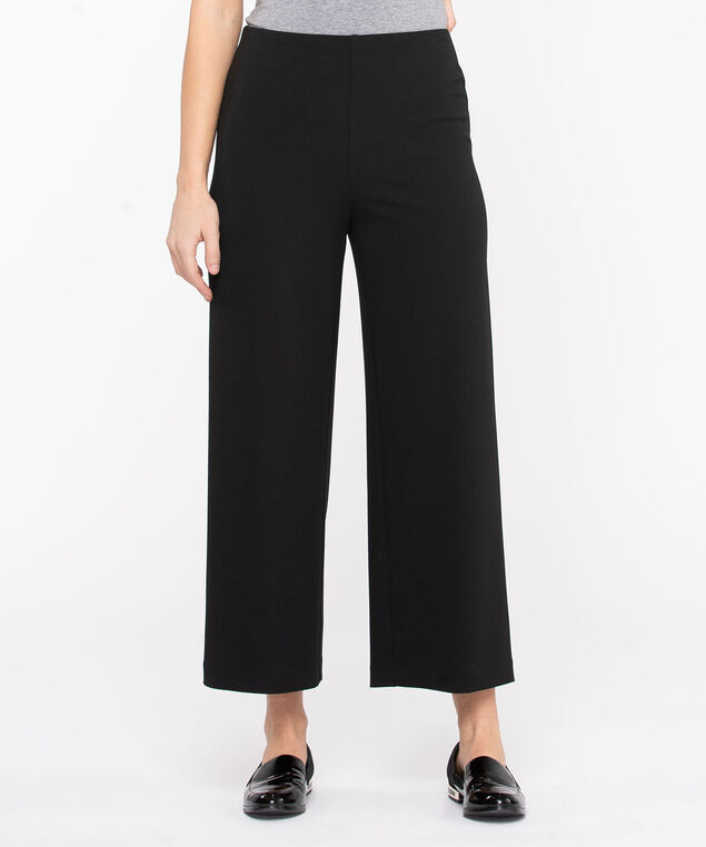 Scuba Crepe Wide Leg Crop, Black
