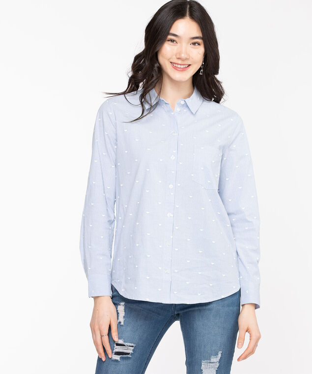 Classic Collared Button-Up Shirt, Blue Bell/White Heart
