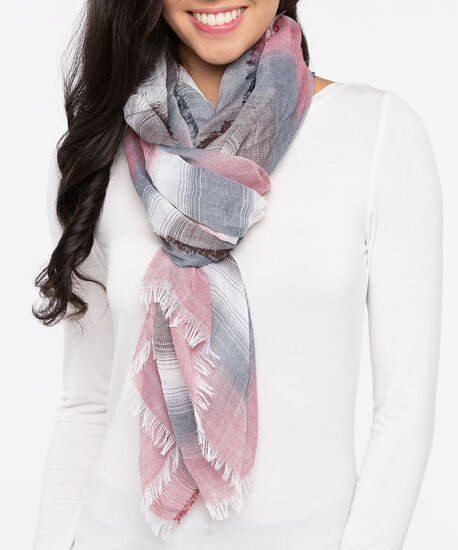 Striped Oblong Scarf, Pearl/Steel Blue/Rust, hi-res