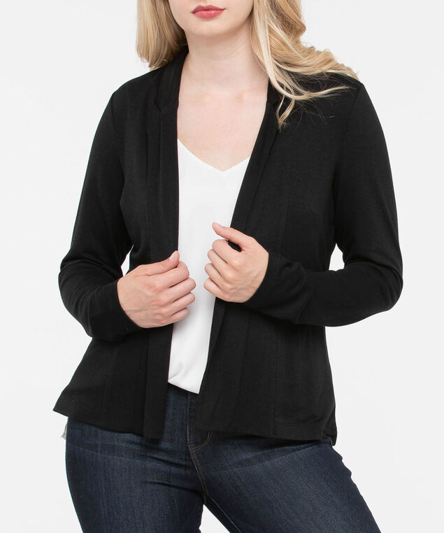 Long Sleeve Crop Cardigan, Black, hi-res