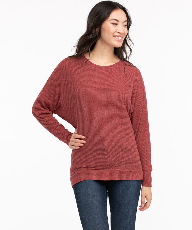 Ribbed Hacci Dolman Sleeve Top, Earth Red Mix