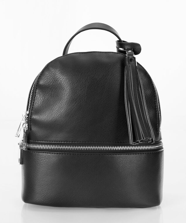 Round Top Crossbody Backpack, Black/Nickel, hi-res