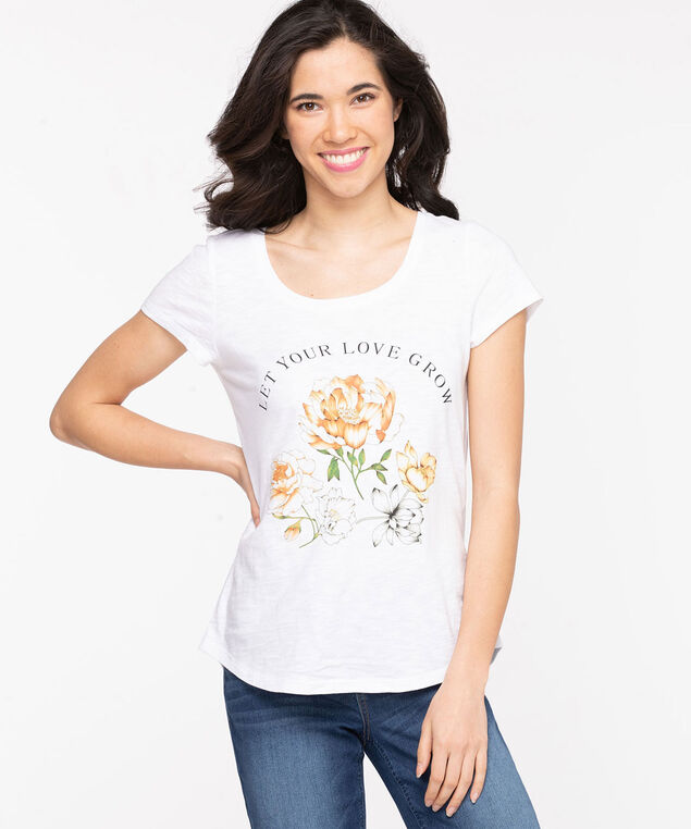 Scoop Neck Shirttail Graphic Tee, Pristine/Floral Screen