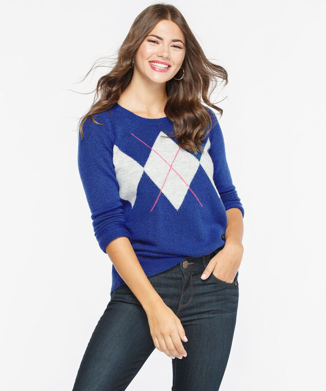 Argyle Scoop Neck Sweater, Bright Blue/Light Grey/Bright Pink, hi-res