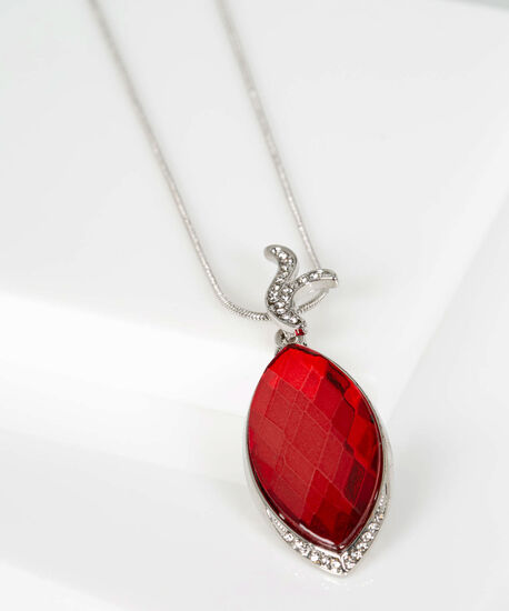 Faceted Stone Leaf Necklace, Crimson/Rhodium, hi-res