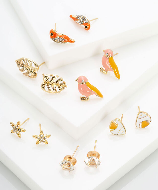 Tropical Earring Set, Gold, hi-res