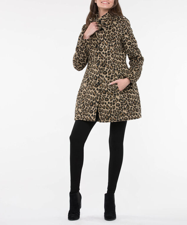 Collarless Animal Print Coat, Black/Camel, hi-res
