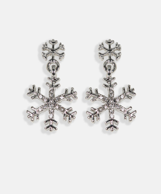 Crystal Snowflake Earring, Rhodium, hi-res