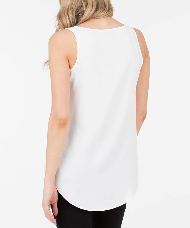 Scoop Neck Woven Layering Cami, White, hi-res