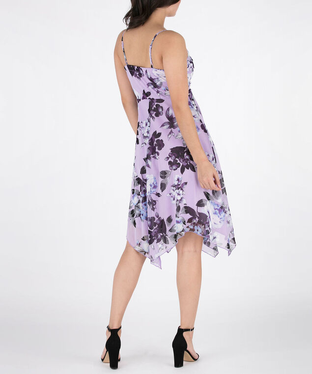 Strappy Sharkbite Hem Dress, Purple/Black/Grey, hi-res