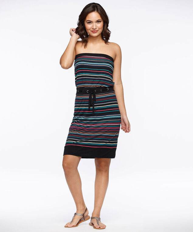 Striped Bandeau Dress, Black/Coral/Aqua/Yellow, hi-res