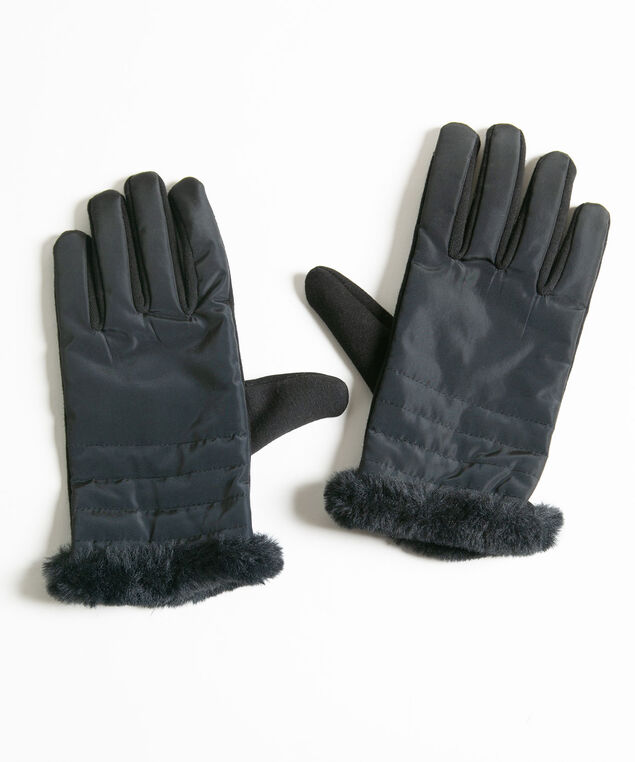 Faux Fur Trim Scuba Gloves, , hi-res