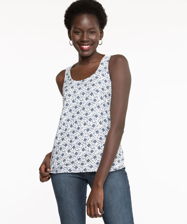 Diamond Sleeveless Mixed Media Top, Pearl/Navy