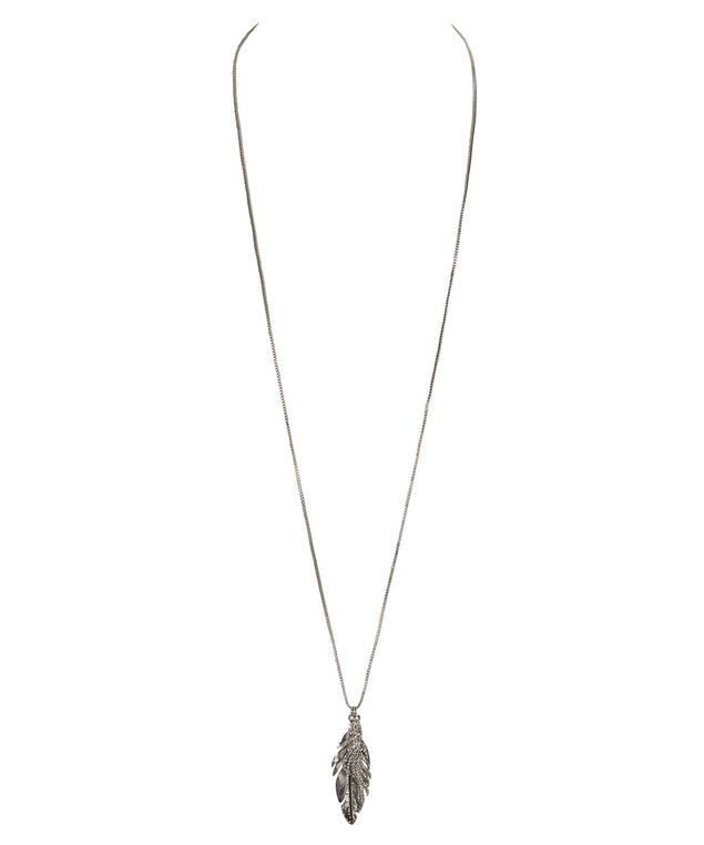 Crystal & Metal Feather Pendant Neckace, Clear/Burnished Silver, hi-res