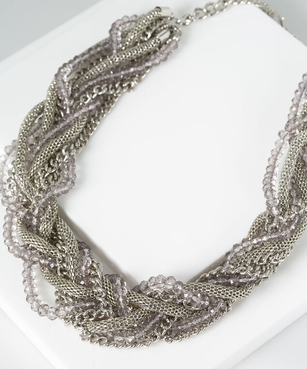 Twisted Chain & Stone Statement Necklace, Rhodium/Grey, hi-res